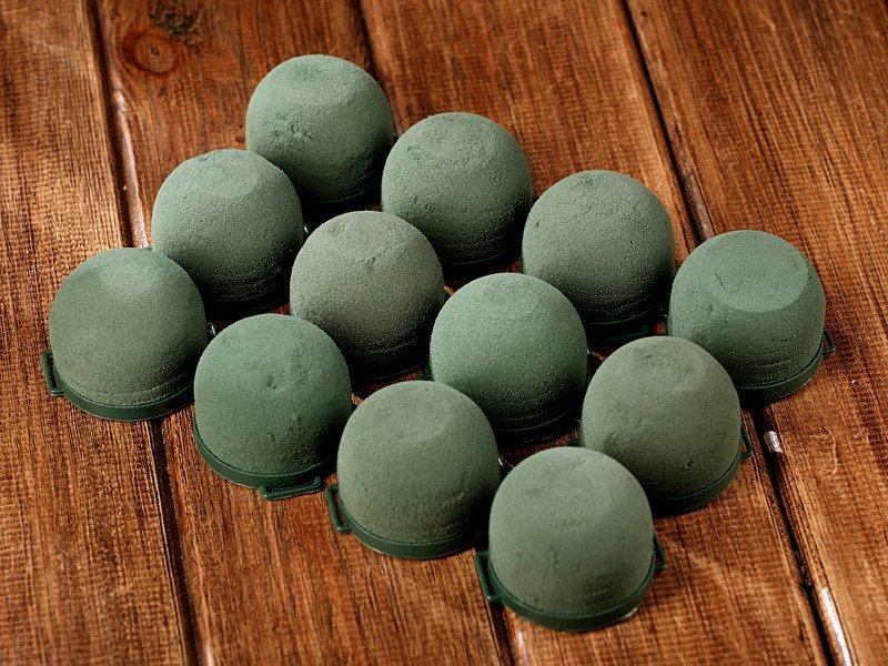 Gąbka Florystyczna Na Podstawce Samoklejącej Gąbka Zielona Okrągła 4050 Mm Opakowanie 12 Sztuk